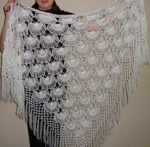 вязанию шали из ракушек.