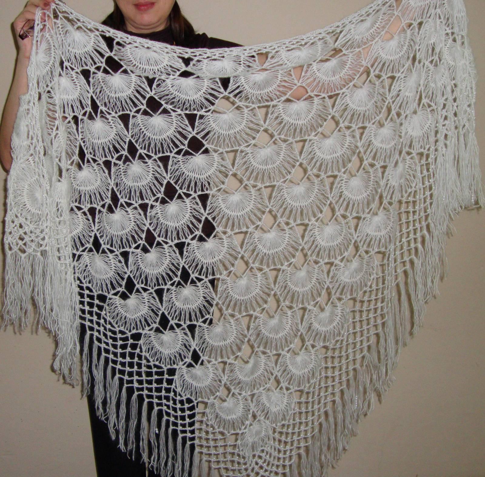 Вязание крючком на вилке шалей